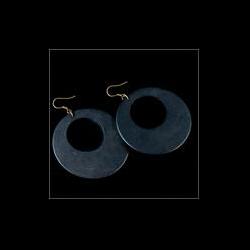 Black Beijing Wood Disk Earrings