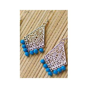 Silver Fan Earrings with Turquoise Beads