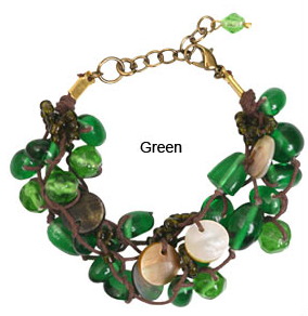 Mother-of-Pearl Green Glass Bracelet