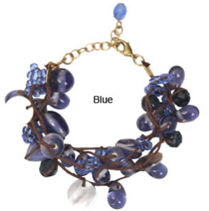 Mother-of-Pearl and Blue Glass Bead Bracelet