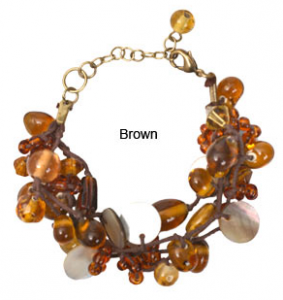 Mother-of-Pearl and Brown Glass Bead Bracelet