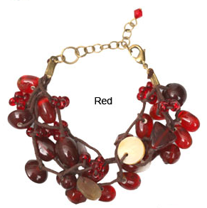 Mother-of-Pearl and Red Glass Bead Bracelet