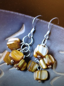 Brown Mother-of-Pearl Cluster Earrings