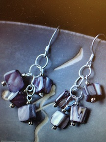 Purple Mother-of-Pearl Cluster Earrings