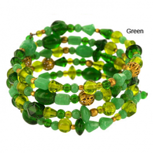 Green Delhi Glass Bead Bracelet