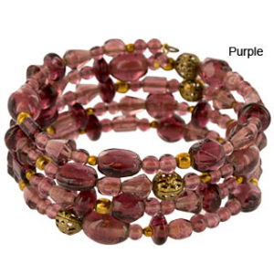 Purple Delhi Glass Bead Bracelet
