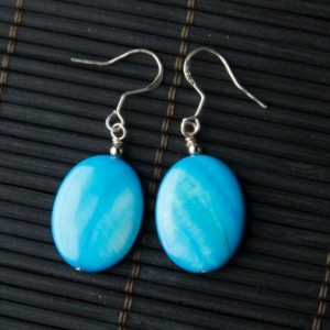 Mother of Pearl Blue Oval Disk Earrings
