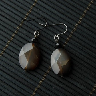 TBP Blk agate earrings