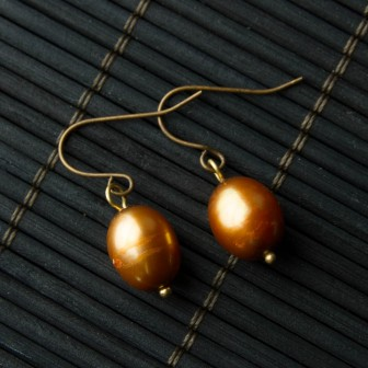 Single Brown Pearl Earrings