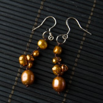 TBP Brown Pearl handknotted earrings