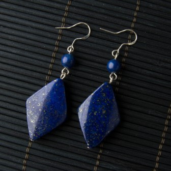 Lapis Lazuli Diamond Shaped Earrings