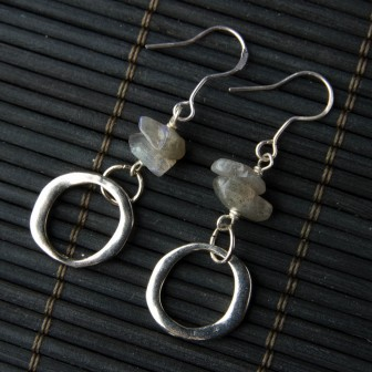 TBP labradorite w silver hoops earrings