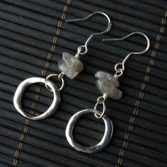 TBP labradorite w silver hoops earrings