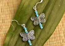 TBP Silver w Blue bead Butterfly earrings