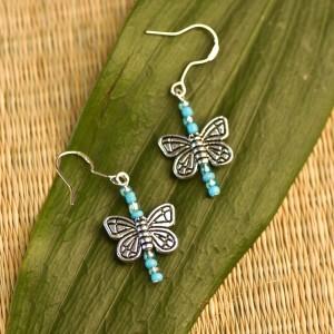 TBP Silver w Blue bead Butterfly earrings