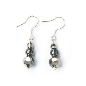 TBP crystal n gunmetal earrings