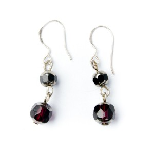 TBP plum crystal earrings