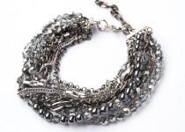 TBP gunmetal n crystal barcelet
