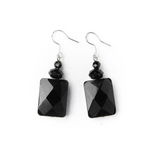 TBP onyx square earrings