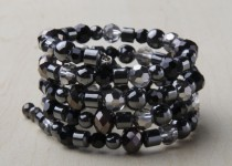 TBP hematite blk onyx glass bead wrap bracelet