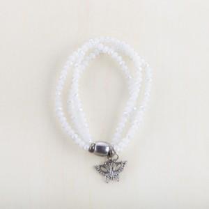 TBP wht stretch butterfly charm bracelet