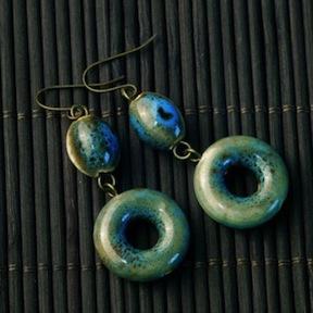 Blue-Green Ceramic Circle Earrings