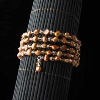 Brown Pearl crystal wrap bracelet