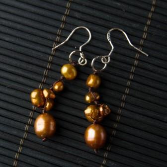 TBP Brown Pearl handknotted earrings